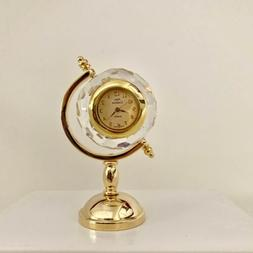 Miniature Crystal Earth Globe Clock Hand Crafted Vintage She