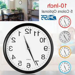 Modern 10 Inch Round Wall Clock Silent Quartz Non-ticking Ba