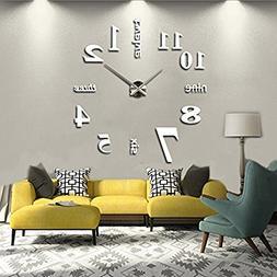 Elikeable Modern 3D Frameless Large 3D DIY Wall Clock Watche