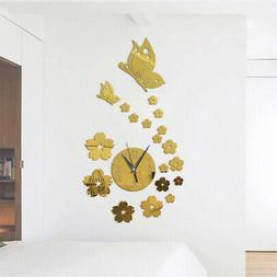 Modern 3D Mirror Surface DIY Wall Clock Sticker for Living R