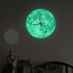 Modern 3D Wall Clock Moon Moonlight Glow In The Dark Clocks