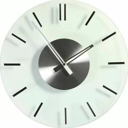 Modern Chrome Glass Wall Clock Round Analog Kitchen Living R
