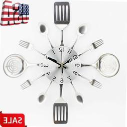 Modern Cutlery Retro Wall Clock Fork Spoon Kitchen Utensil H