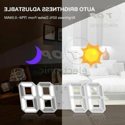 Modern Digital 3D LED Wall Clock Alarm Clock Snooze 12/24 Ho