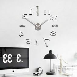 Modern DIY Large Wall Clock 3D Mirror Surface Sticker Home D
