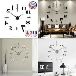 Modern DIY Large Wall Clock 3D Mirror Surface Sticker Big Nu