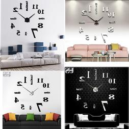 Modern DIY Large Wall Clock 3D Mirror Surface Sticker Home D