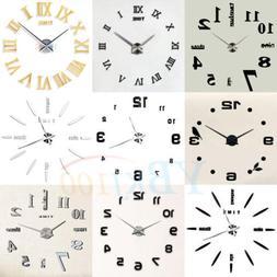 Modern DIY Large Wall Clock Kit 3D Mirror Surface Sticker fo