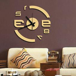Modern Home 3d Quartz Wall Clock Acrylic Mirror DIY Clocks L
