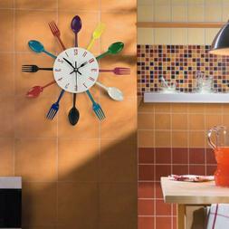 Modern Home Cutlery Kitchen Utensil Wall Clock Spoon Fork Li