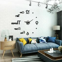 Modern Home DIY Large 3D Number Mirror Wall Sticker Art Cloc