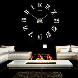 Modern Large DIY Wall Clock 3D Mirror Roman Numerals Surface