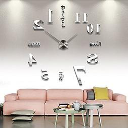 Qpower Modern Mute DIY Large Wall Clock 3D Sticker Home Offi
