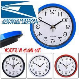 Modern Round Wall Clock Quartz Silent Sweep Movement Home Be