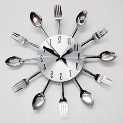 Modern Design Silver Cutlery Kitchen Utensil Clock Spoon For