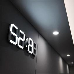 Modern Wall Clock 3D LED Digital Alarm Table Desk Clocks Dis