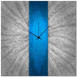 Metal Art Studio 'Blue Stripe Clock' Modern Metal Wall Clock