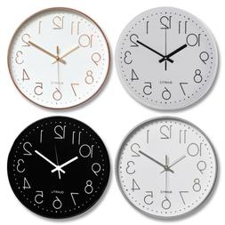 "Modern Wall Clock Silent Non-ticking Battery Operated 12"" Ro"