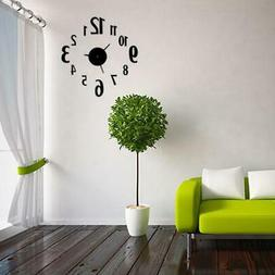 Modern Wall Clocks Frameless DIY Large 3D Non Ticking Clock