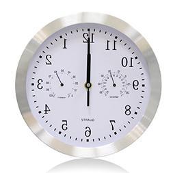 Modern Wall Clocks large Quartz Silver Thermometer Decor Hom