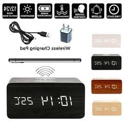 Modern Wooden Digital LED Desk Alarm Clock Thermometer Qi Wi