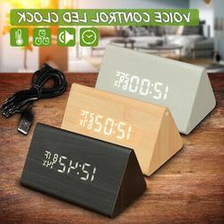 Modern Wooden Wood Digital LED Alarm Clock Voice Control Cal