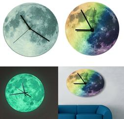 Moon Wall Clock Glow In The Dark Home Decor Clocks Creative