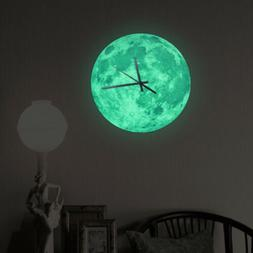Moon Wall Clock Glow In The Dark Home Decor Clocks Creative