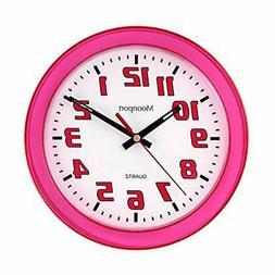Moonport 8 Inch Wall Clock,Silent Non-Ticking Quartz Battery