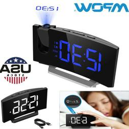 Mpow LED Snooze Alarm Clock Dimmer Sleep Timer Projector FM