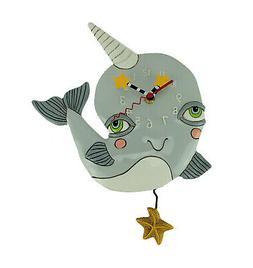 Allen Designs Narly Narwhal Pendulum Wall Clock