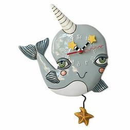 Allen Designs Narly Narwhal Whale Pendulum Wall Clock Batter