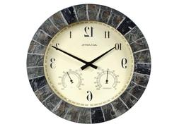 NEW AcuRite 14-inch Faux Slate Outdoor Clock with Thermomete