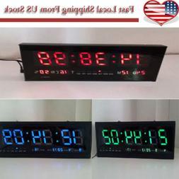 New Digital Large Big Digits LED Wall Desk Clock With Calend
