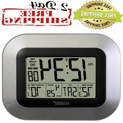 Atomic Digital Wall Clock with Sensor Alarm Calendar Indoor