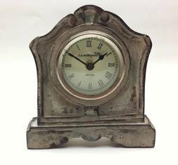 "NEW Distressed Gray Finish Wood Desk/Shelf Clock 6.75"" high"