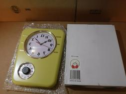 NEW LILY'S HOME RETRO KITCHEN TIMER WALL CLOCK YELLOW