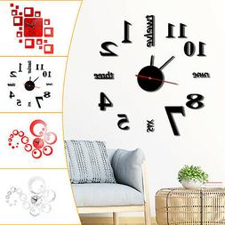 New Modern DIY Large Wall Clock 3D Mirror Surface Sticker Ho