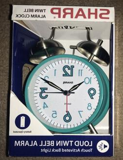 NEW Sharp SPC851 Twin Bell Alarm Clock, Teal With Touch Back