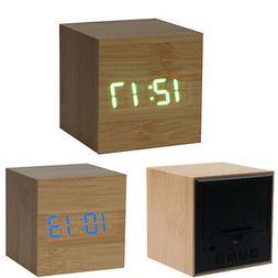 New Square Digital LED Bamboo Wood Desk Alarm Clock For Bedr