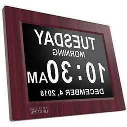 Day Clock - Extra Large Impaired Vision Digital Clock Mahog