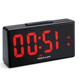 """PEAKEEP Large 6.8"""" Night Light Digital Alarm Clock with USB"""