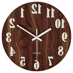 "jomparis 12"" Night Light Function Wooden Wall Clock Vintage"