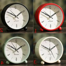 Non Ticking Analog Alarm Clock for Bedrooms with Nightlight