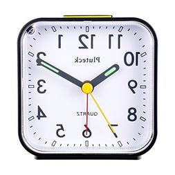 Pluteck Non Ticking Quartz Analog Alarm Clock with Nightligh