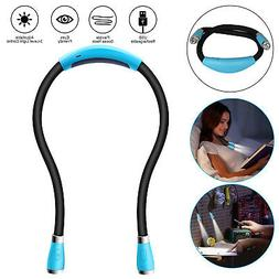 USB Rechargeable Neck Light 4 LEDs Book Light for Reading in