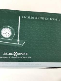 NRFB Howard Miller Desk Set Clock Pens 613-588 Rosewood