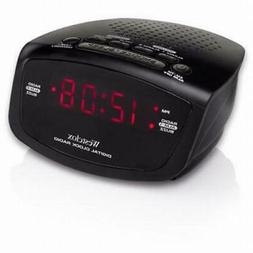 "Westclox NYL80209 LED .6"" Alarm Clock Radio Red w/Snooze"