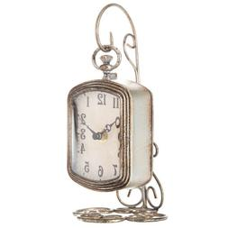 Ornate Rustic Table Clock with Metal Pocket Watch Stand Vint