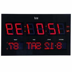 "hito 14.2"" Large Oversized LED Wall Clock Seconds Date Day"